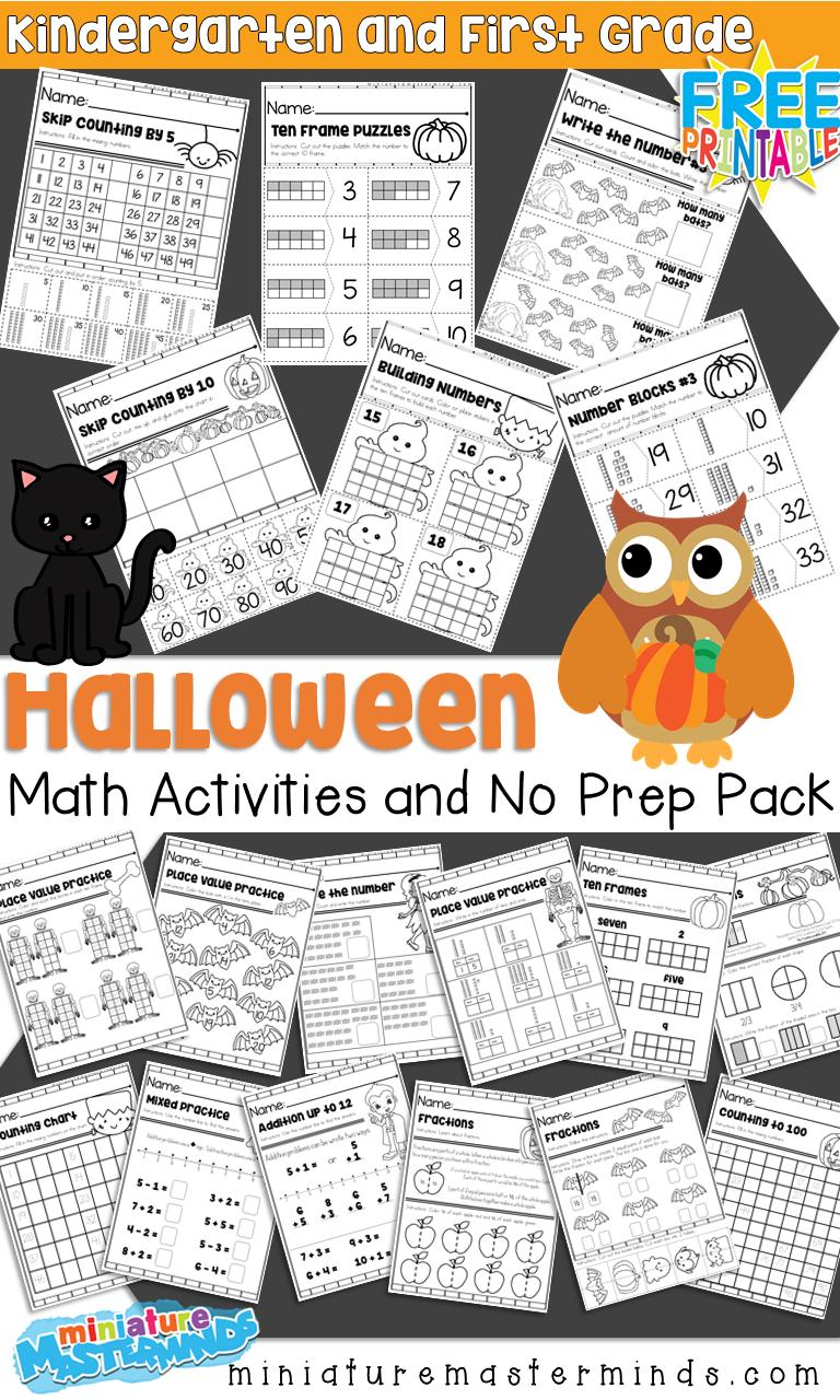 Halloween Themed Kindergarten And First Grade Math Activities And No Prep Math Worksheets Halloween Math Activities Math Activities First Grade Math [ 1280 x 768 Pixel ]
