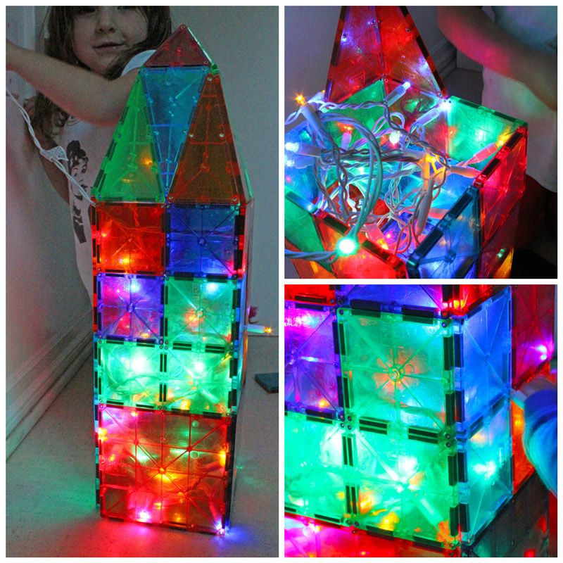 Rope Lights Sensory: Super Easy Kids Activity: Pair Magna Tiles With Christmas