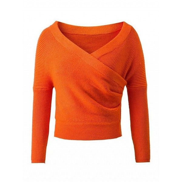 Orange Wrap Front V-neck Cropped Knit Jumper ($38) ❤ liked on ...