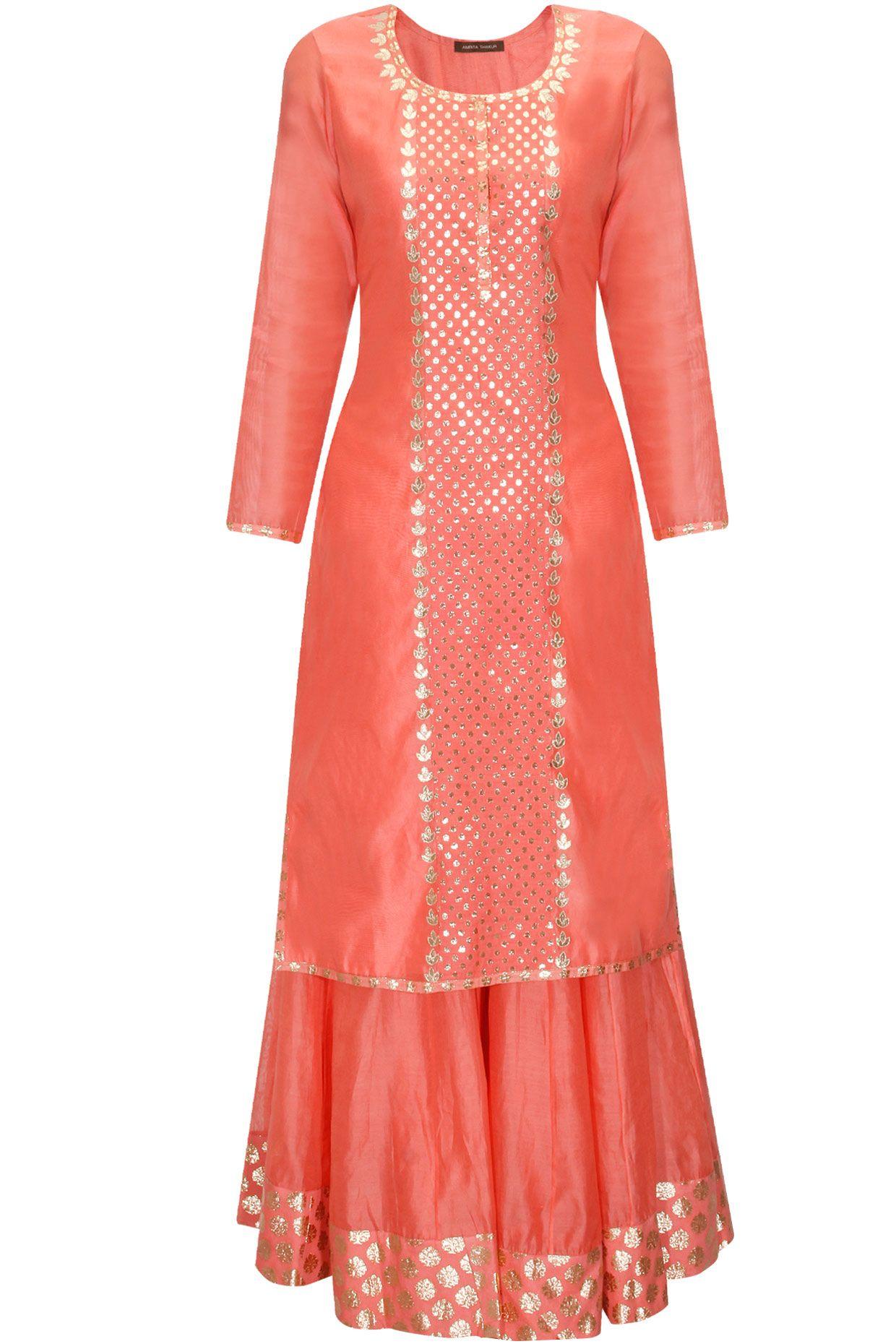 00b6258923 Dark peach and mint green applique work kurta and sharara pants set  available only at Pernia's Pop Up Shop.