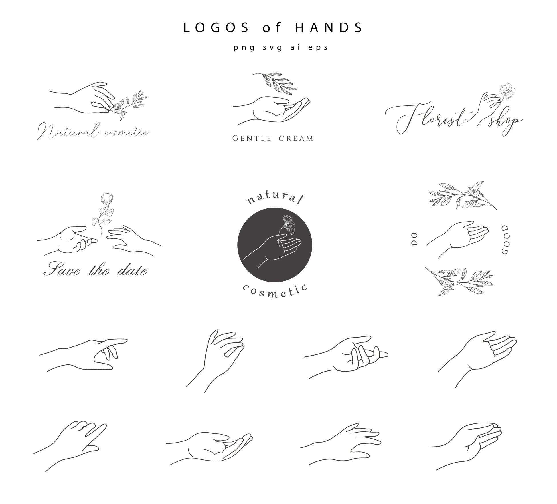 Hand Logo Hands Clipart Hand Drawn Botanical Floral Leaf