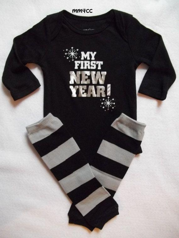 fa4aa27ed My first new year 2014 baby boy bodysuit leg warmers black gray ...