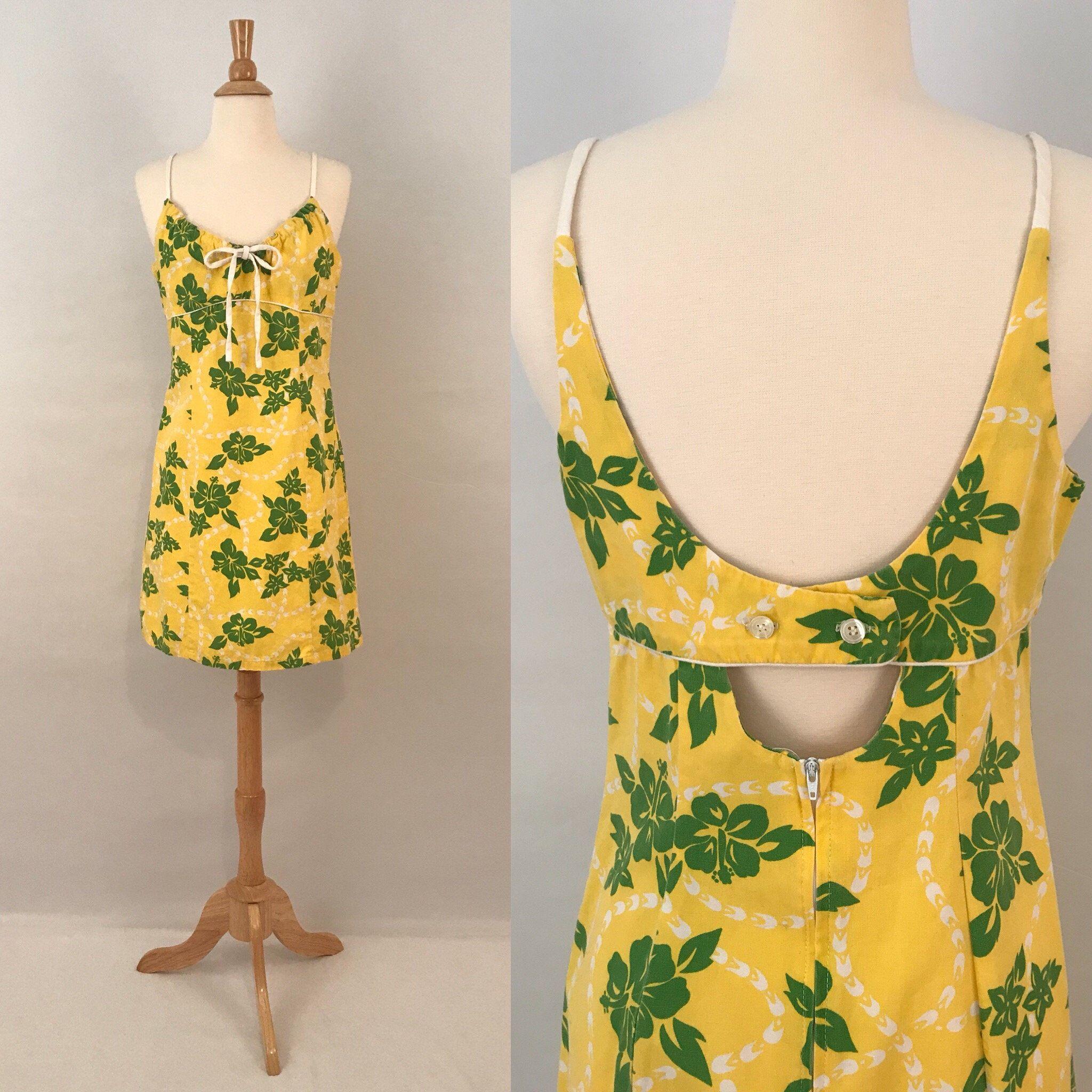 80s Hawaiian Print Mini Dress Vintage Saffron Yellow Sun Dress Hawaiian Outfit Printed Mini Dress Hawaiian Print