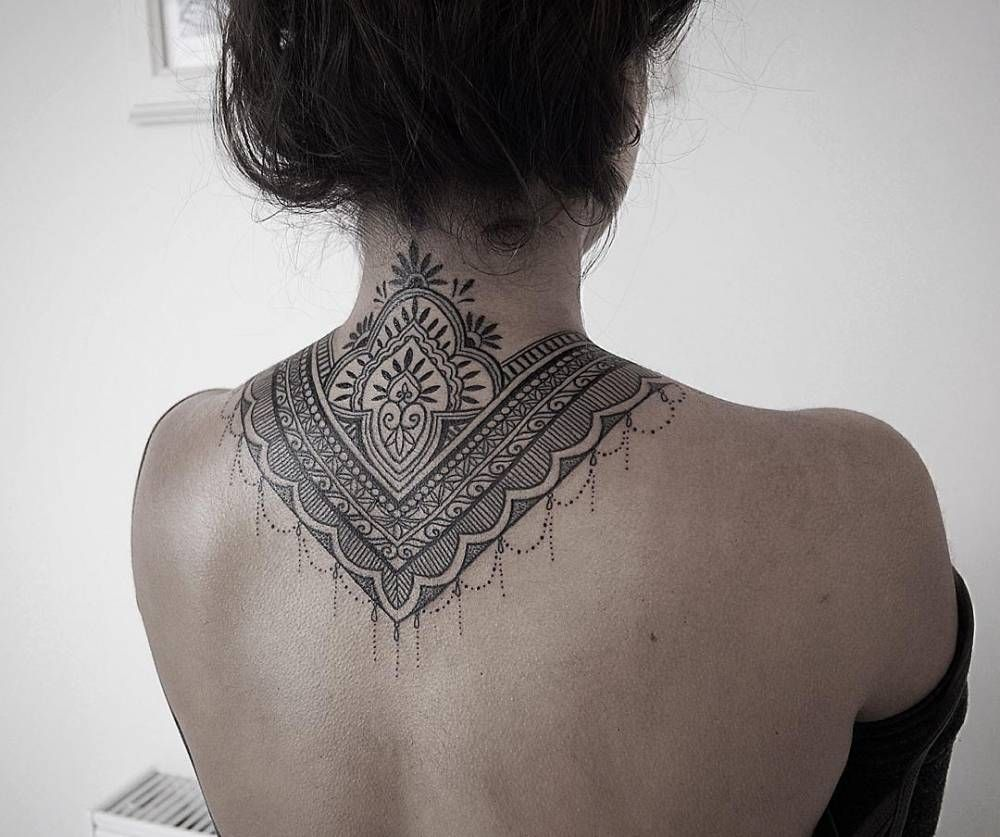 Mandala tattoo on the nape of my neck - Ornamental Style Tattoo Covering Back Of The Neck And Upper Back Done By Alex Bawn
