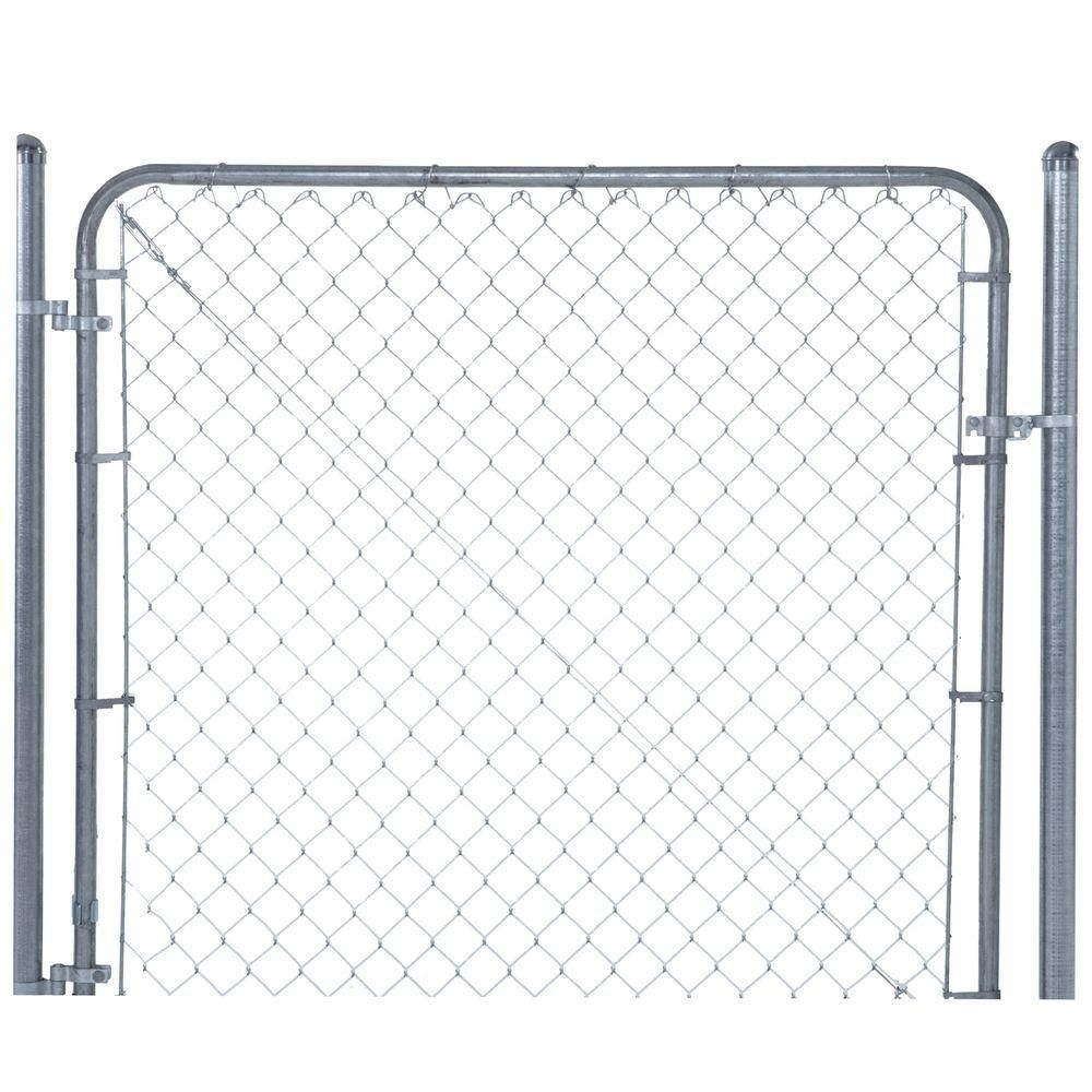Yardgard 6 Ft W X 5 Ft H Galvanized Metal Adjustable Single Walk Through Chain Link Fence Gate 3283ad60 The Home Depot Chain Link Fence Gate Chain Link Fence Fence Gate