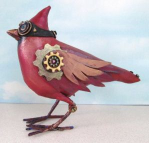 Cardinal Painted muslin, craft foam, wire, floral tape and a few ...