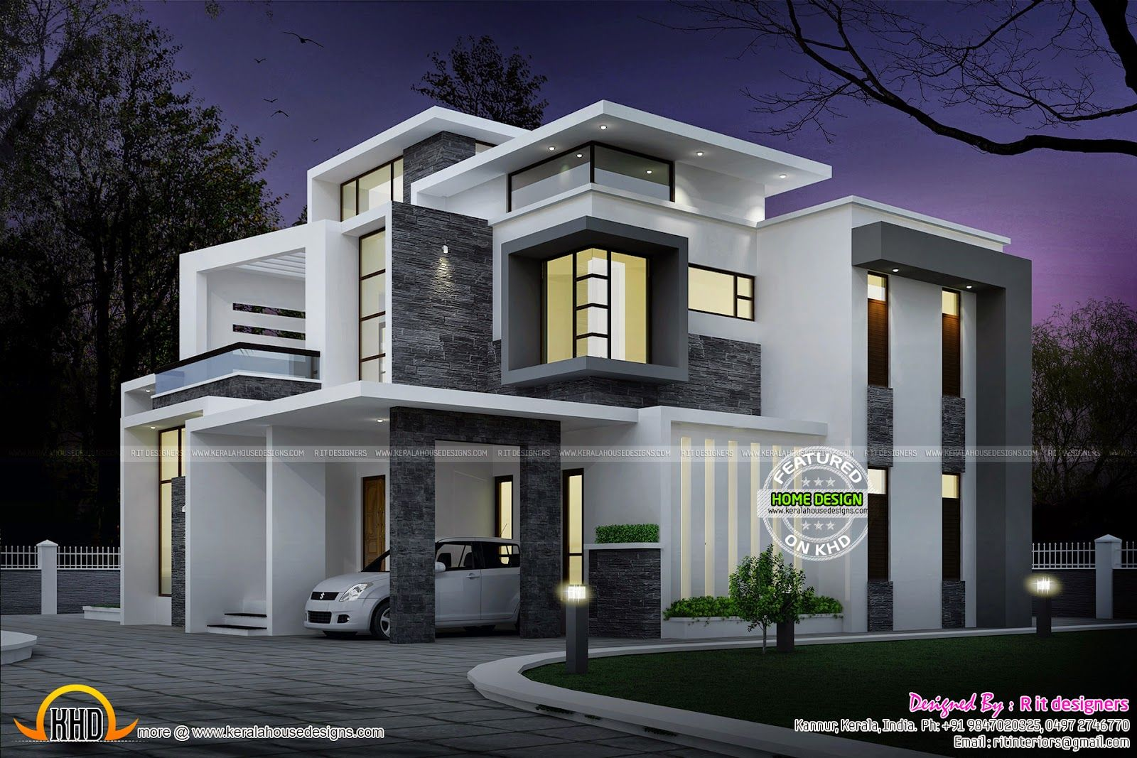 Side elevation view grand contemporary home design night view of 3 bedroom attached Modern home plans 2015