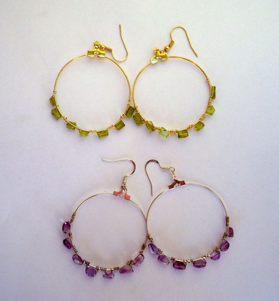 2 pair of genuine amethyst and peridot hoop by JoolsbyAveril