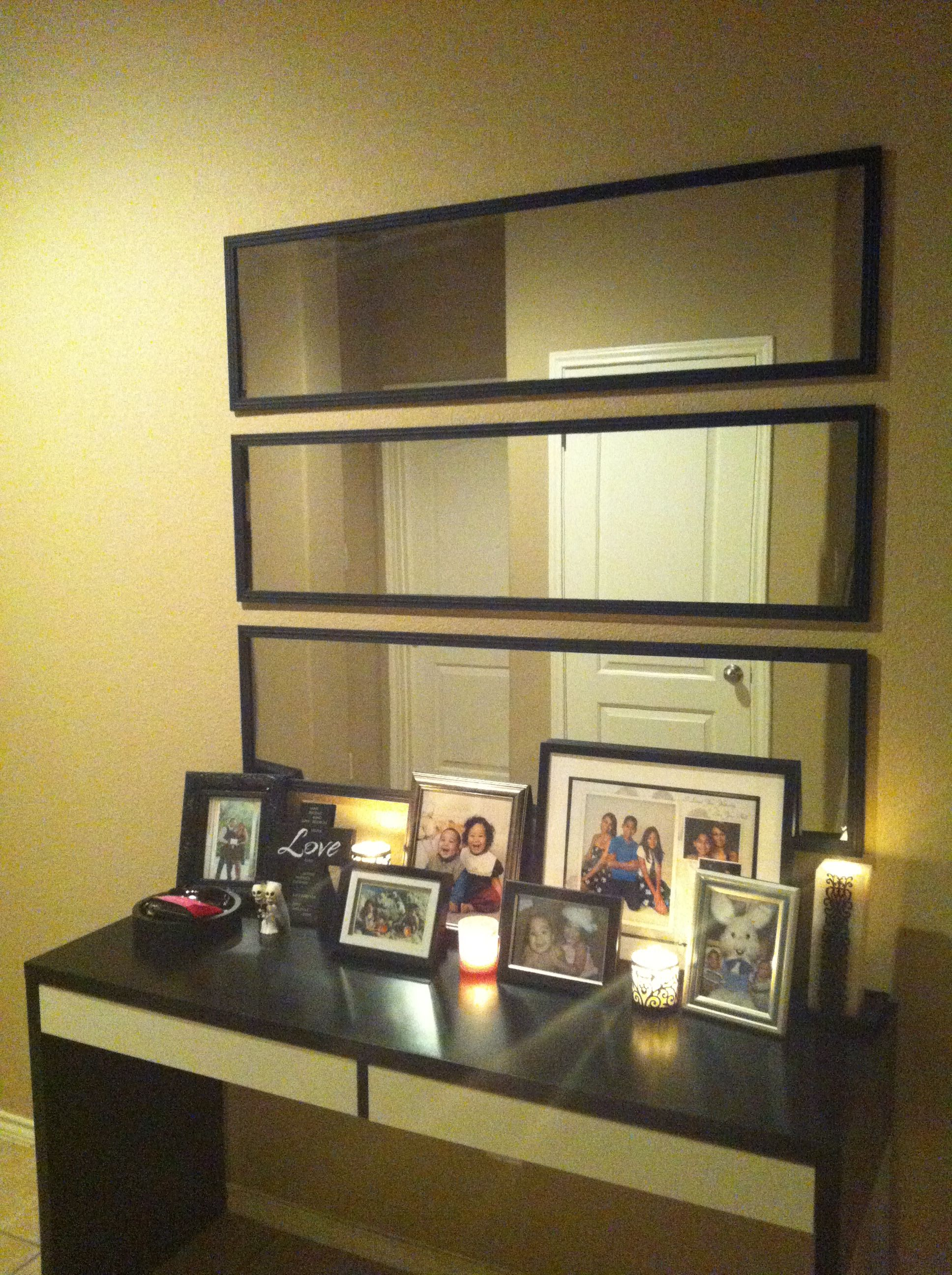 Got 3 long cheap walmart mirrors and hung them horizontally got 3 long cheap walmart mirrors and hung them horizontally thank you pintetest amipublicfo Gallery