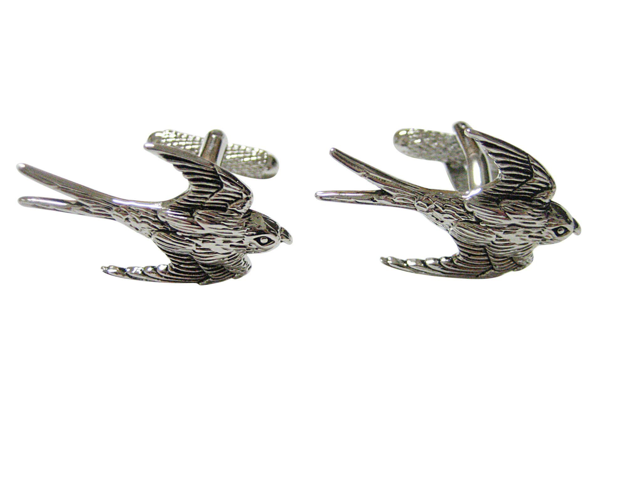 Silver Toned Textured Penguin Bird Cufflinks