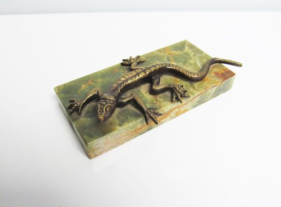 1930s Desk Accessory paperweight with lizard brass by EbyVintage, €18.80