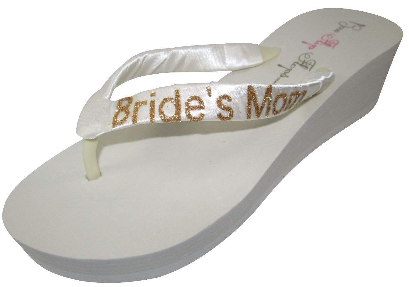 034078f96cb67d Ivory Gold Wedding Flip Flops-Glitter Bride s Mom- Wedge Flip Flops-choose  heel height-Ivory White