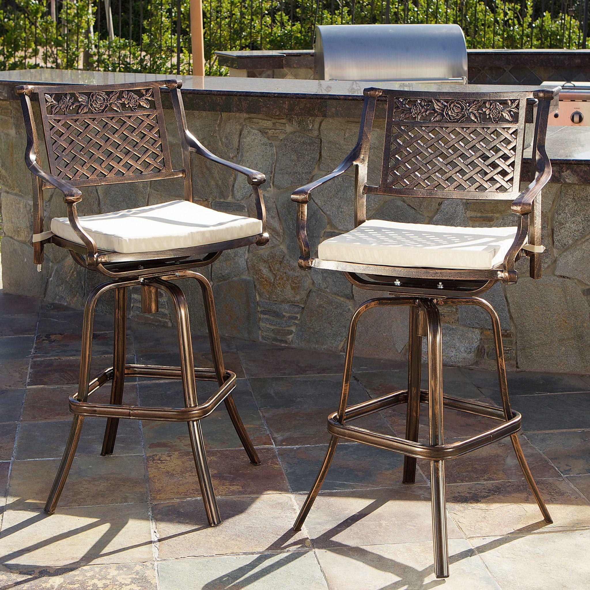 Sierra 30 Inch Outdoor Cast Aluminum Swivel Bar Stools W Cushion