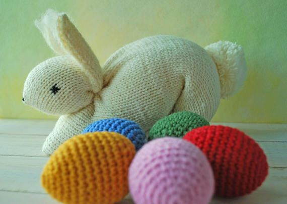Knitting Easter Bunnies : Waldorf toys knit bunny knitted easter knitting