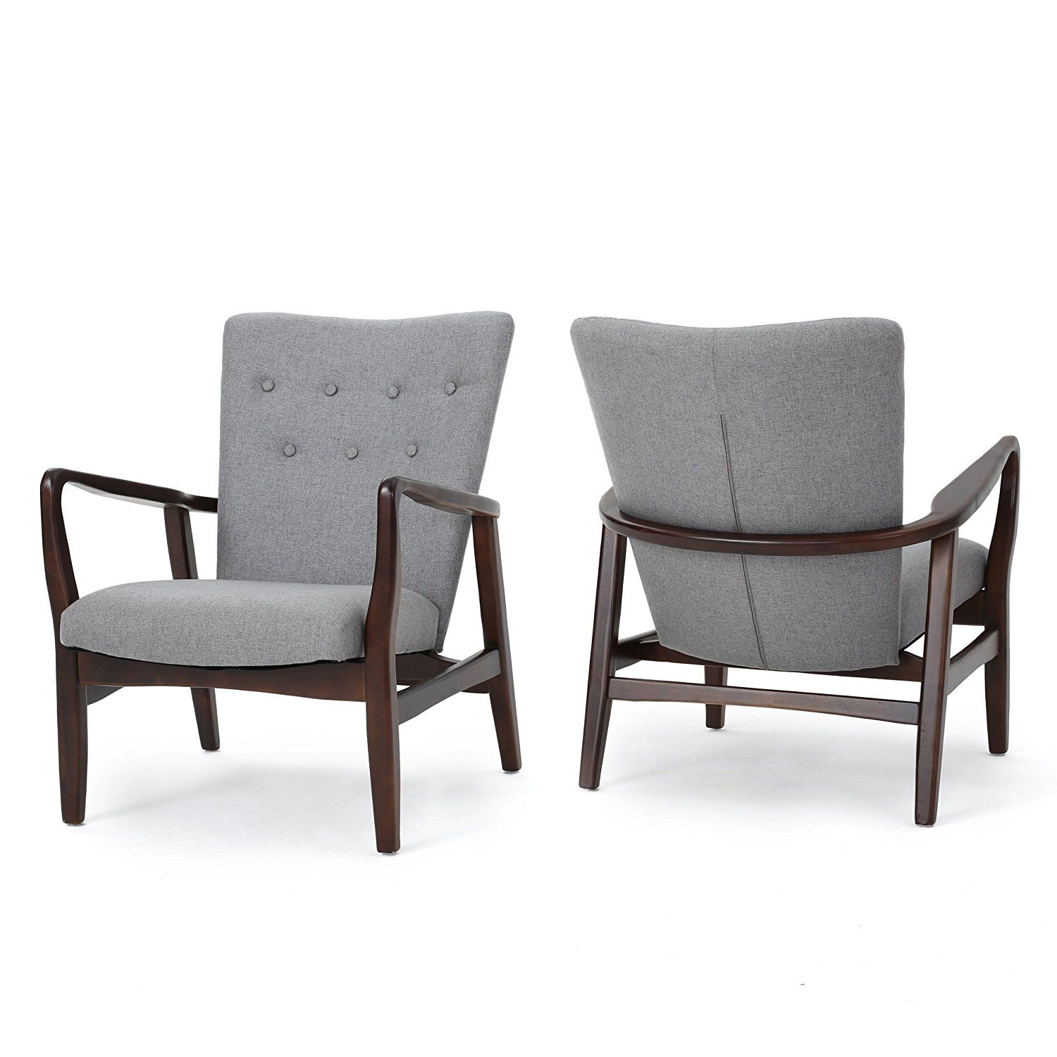 Amazon Suffolk French Style Fabric Arm Chair Set of 2 Grey