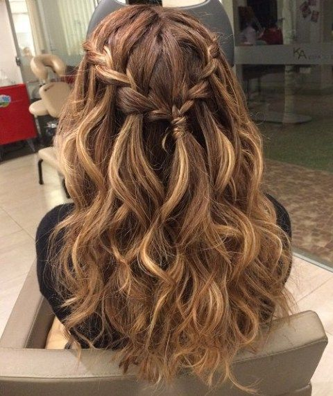 Braided Curly Half Updo For Long Hair | Long Hairstyles ...