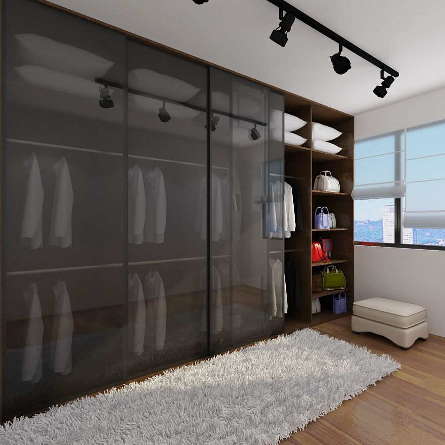Open Concept Wardrobe For Master Bedroom To Replace Track Lamps With Hanging Lamp Interior