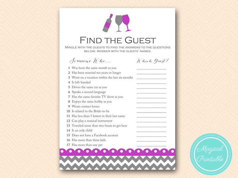 bs146 find the guest ice breaker game purple wine bridal shower game ...