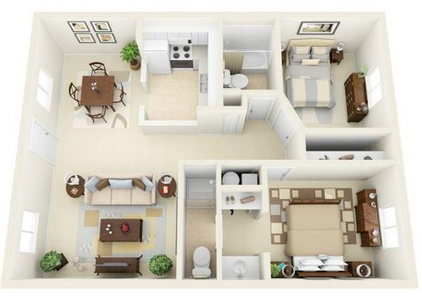 Plano de departamento moderno de 2 dormitorios y 2 ba os for Banos modernos para departamentos