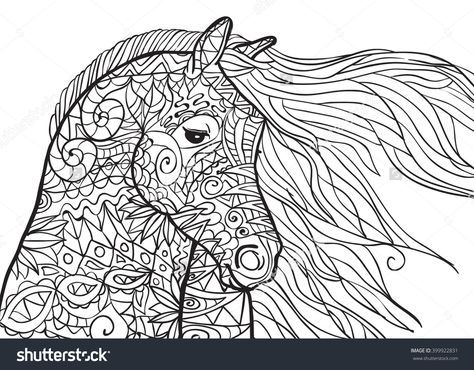 hand drawn coloring pages with horse's head, illustration for | malvorlagen tiere, malvorlagen