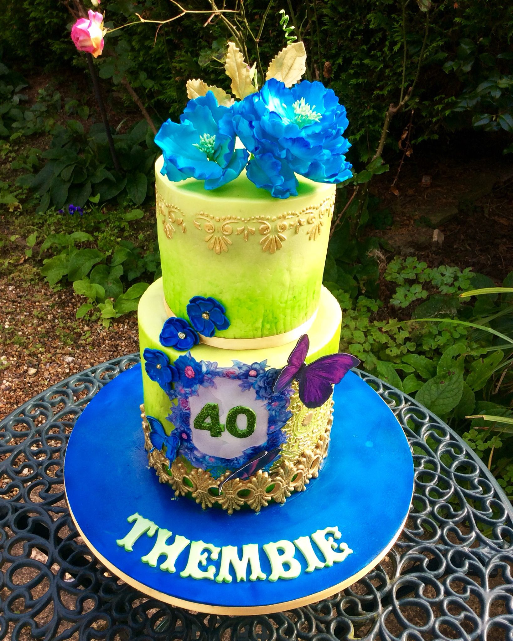 Royal blue and Lime Green 40th birthday cake..