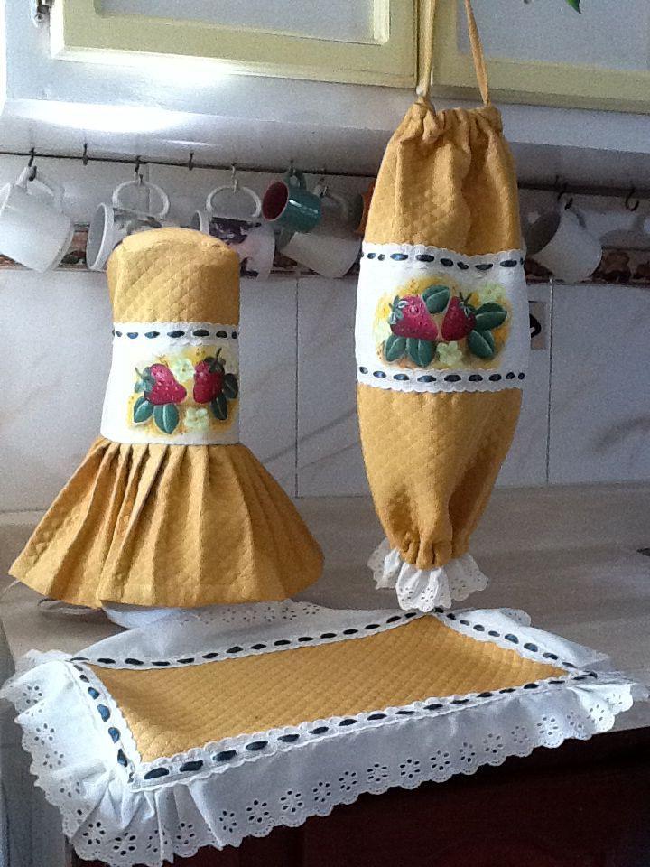 lenceria para cocina pintada en tela - Buscar con Google   lencería ...
