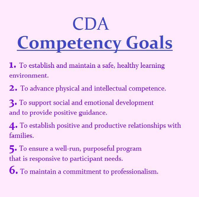 The 6 Cda Competency Goals Infant Amp Toddler Cda