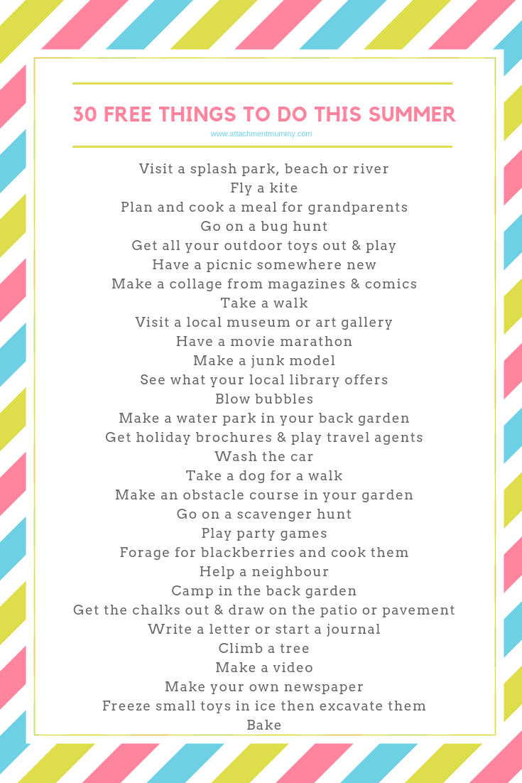 101 Free Things To Do This Summer -   18 holiday Activities list ideas