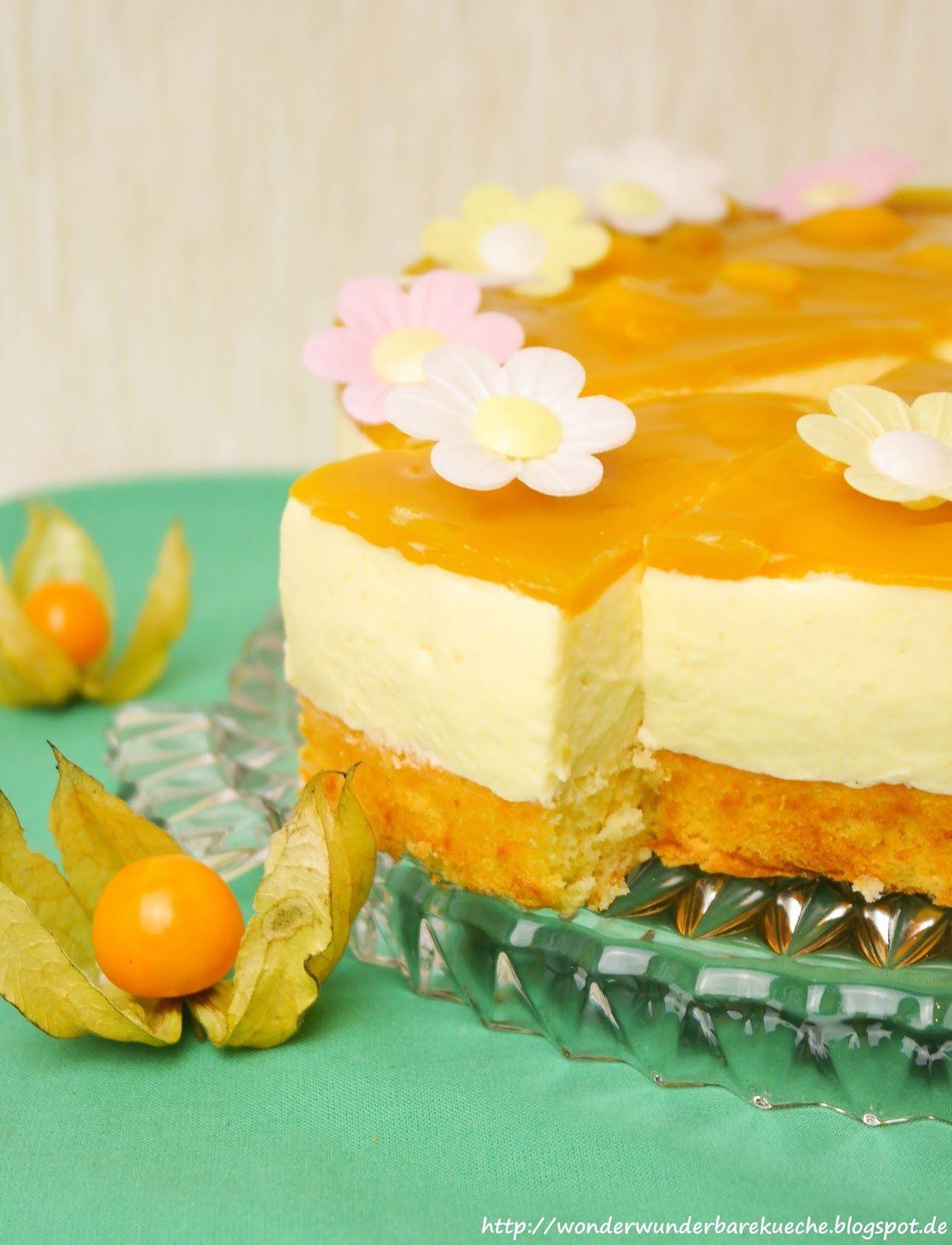 Mango Joghurt Torte Mit Biskuit Boden Und Einem Mango Fruchtspiegel
