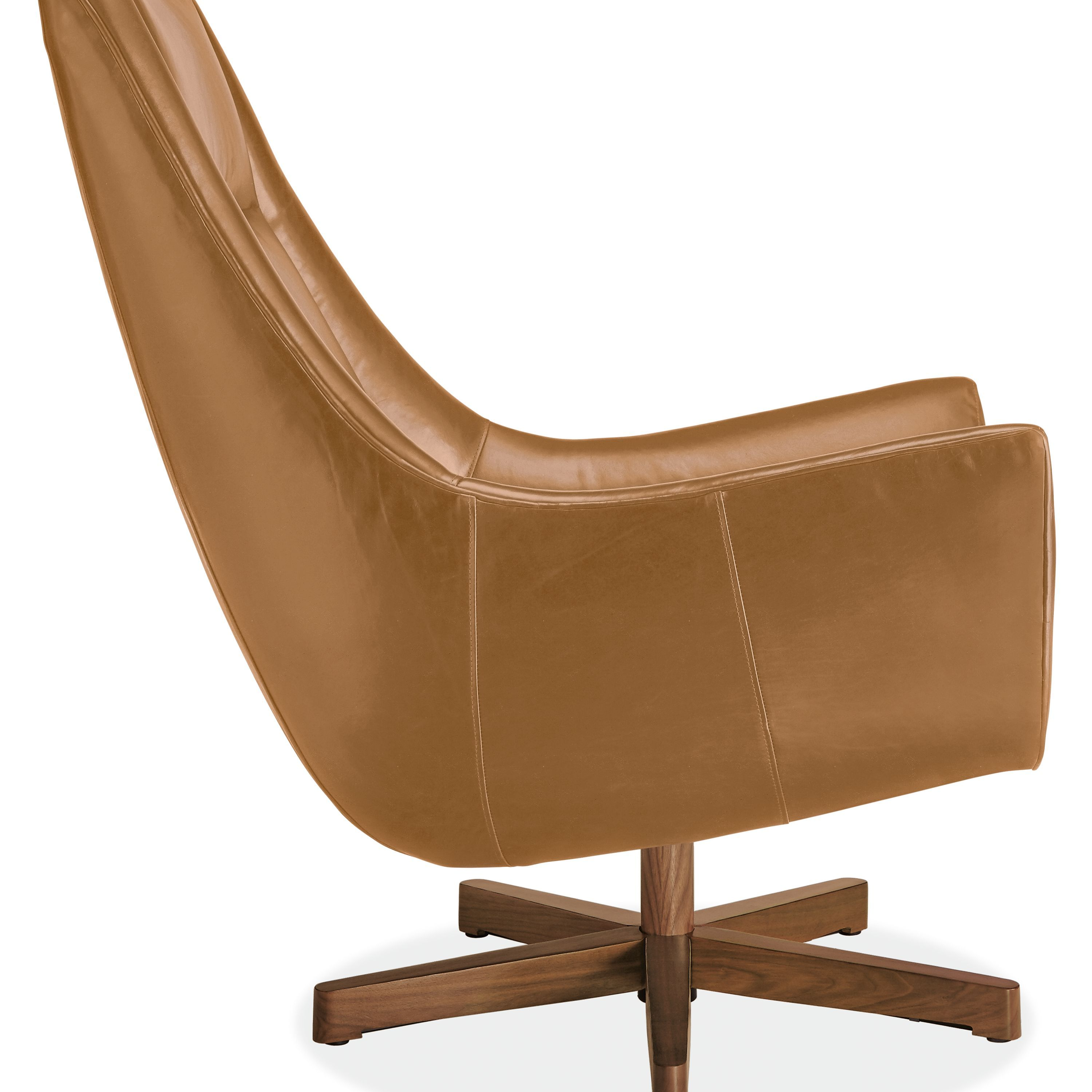 Charles Leather Swivel Chair Ottoman With Wood Base Modern
