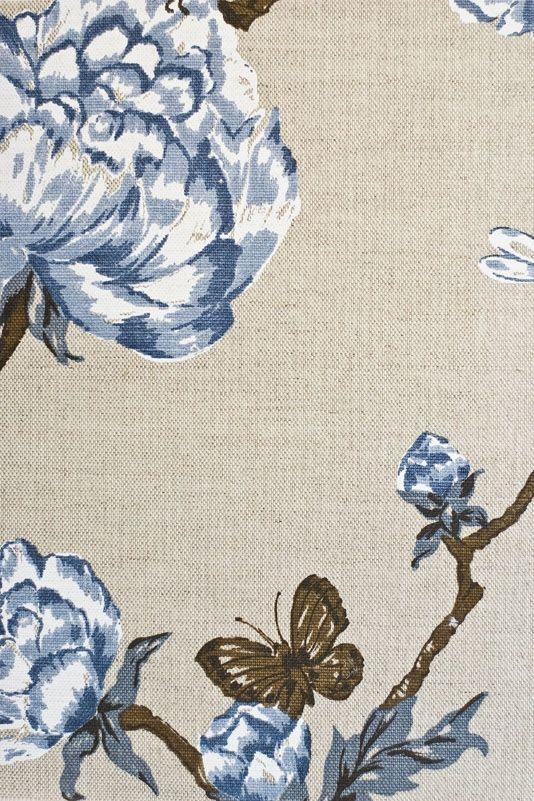 Tree Peony Upholstery Fabric light stone linen mix upholstery ...