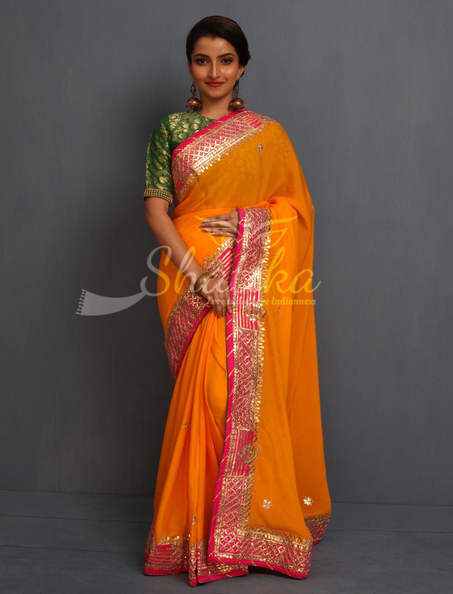 9d9383f1074d2 Nikita Luscious Yellow With Contrast Pink And Dazzling Gold Rajasthani Gota  Patti Saree