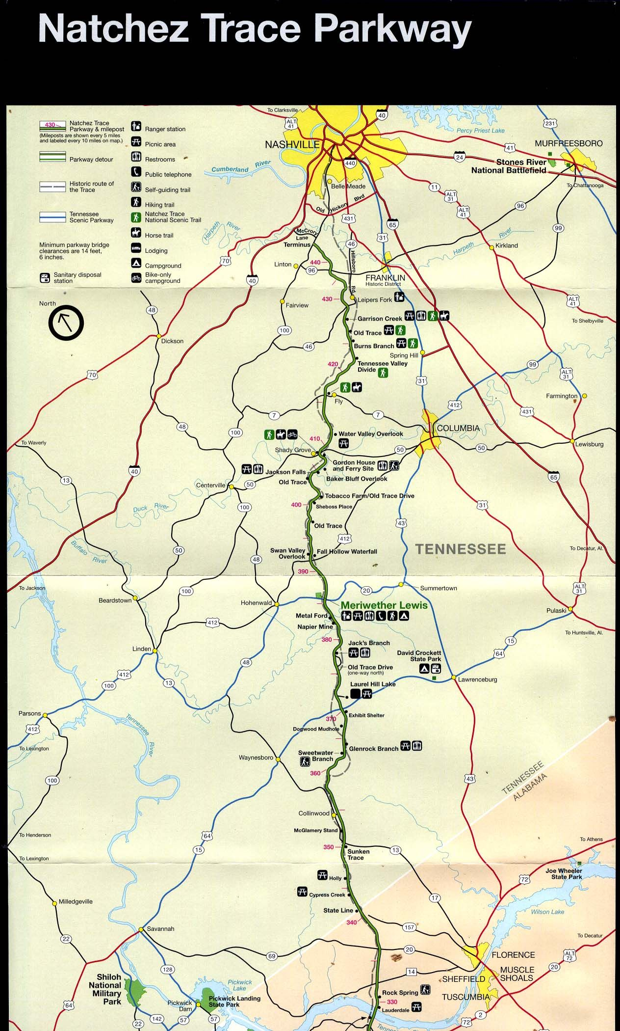 Natchez Trace Parkway Map Road Trip Planner Natchez Trace Natchez