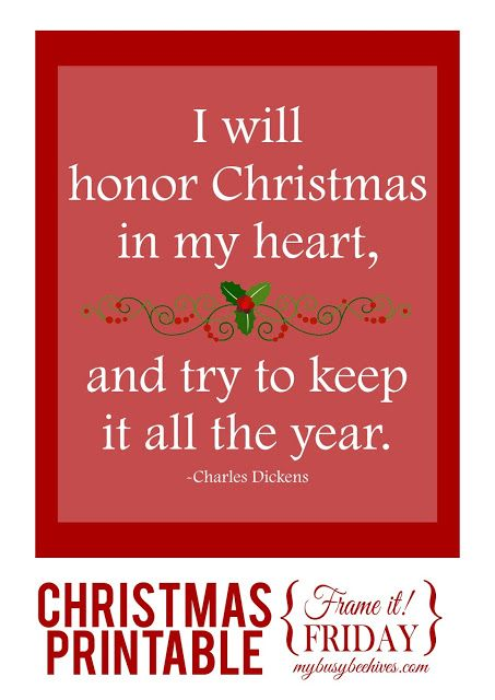 A Christmas Printable Quote From Charles Dickens.
