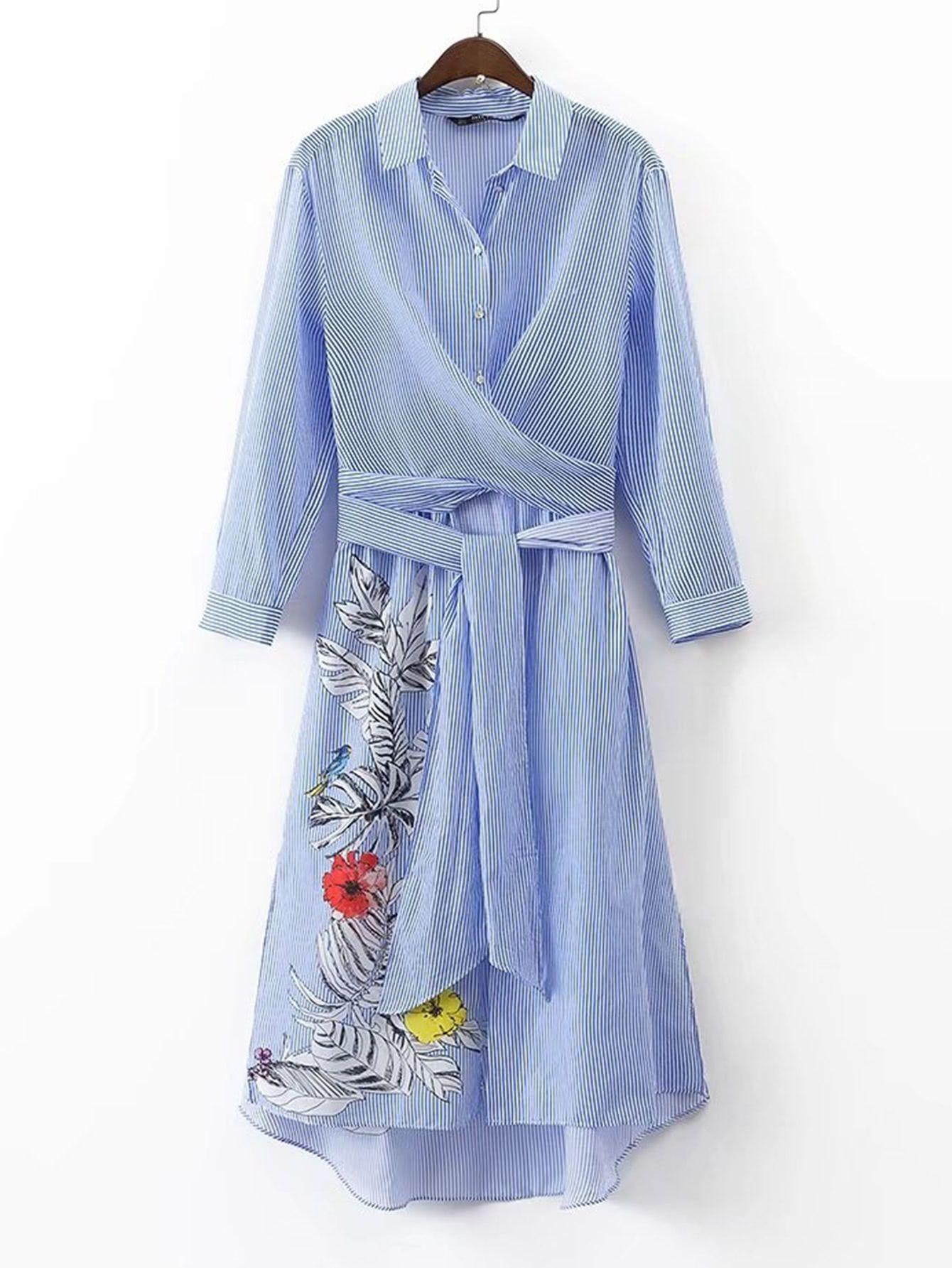 Robe asymétrique à rayures avec un lacet-French SheIn(Sheinside)