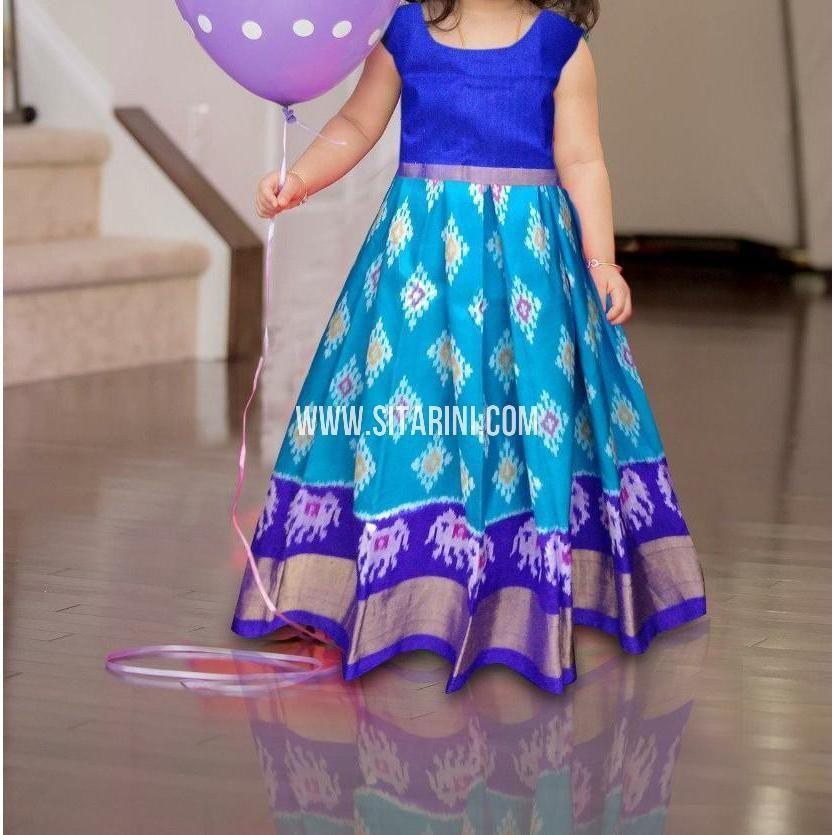 df97eb8f19c03 Kids Ikkat Pattu Lehenga in Sky Blue-0 to 3 years-Sitarini-PRHIPLK178