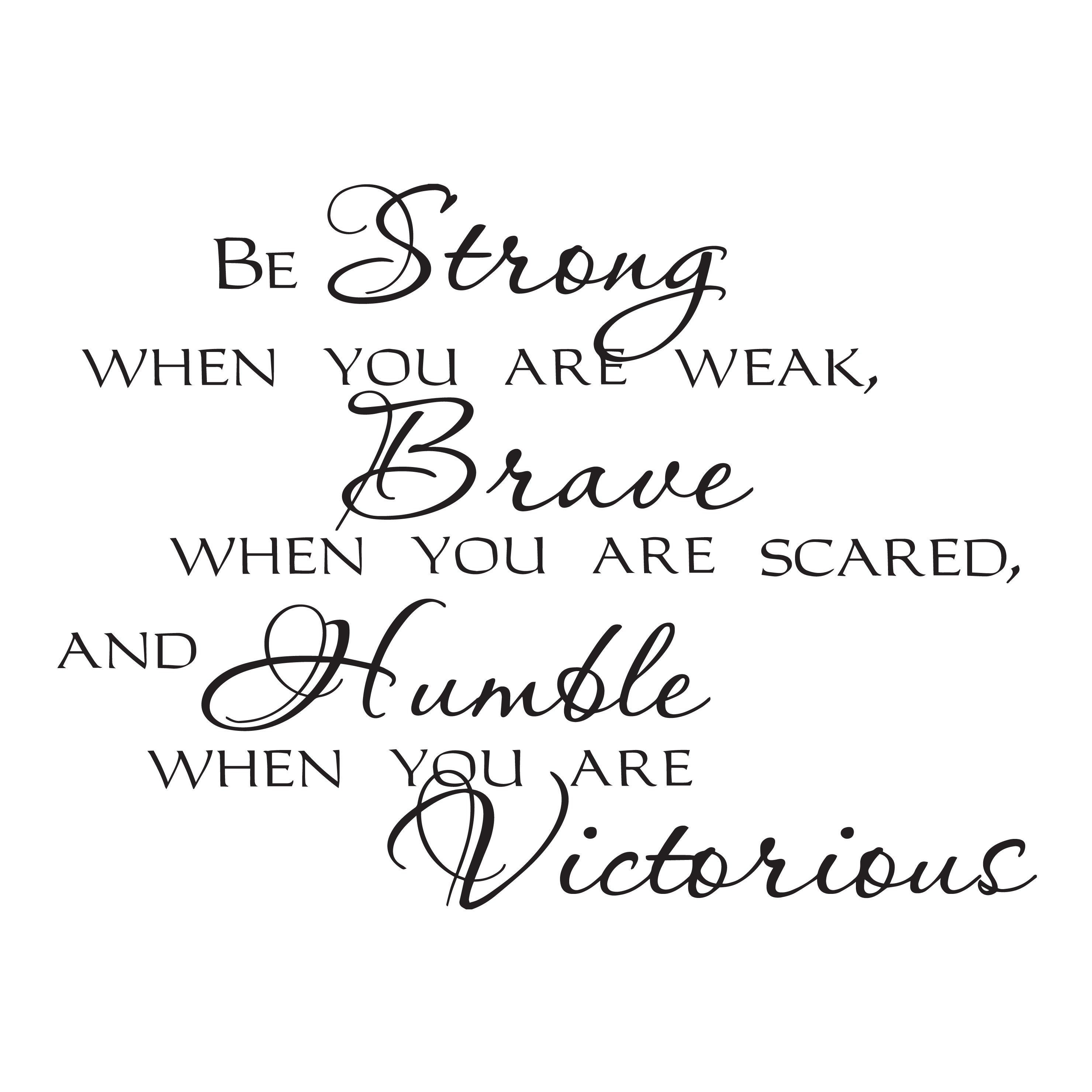 Wall Decal Strong Brave Victorious Motivation Quote Interior Vinyl Decor Black 35 in x 22.5 in gz556
