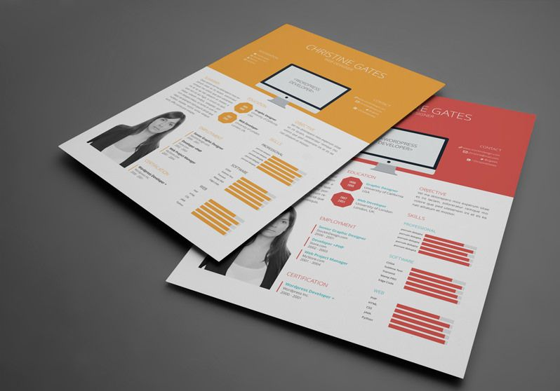 Resume Templates Indesign Free Flat Resume Template  Graphic Design  Pinterest  Template