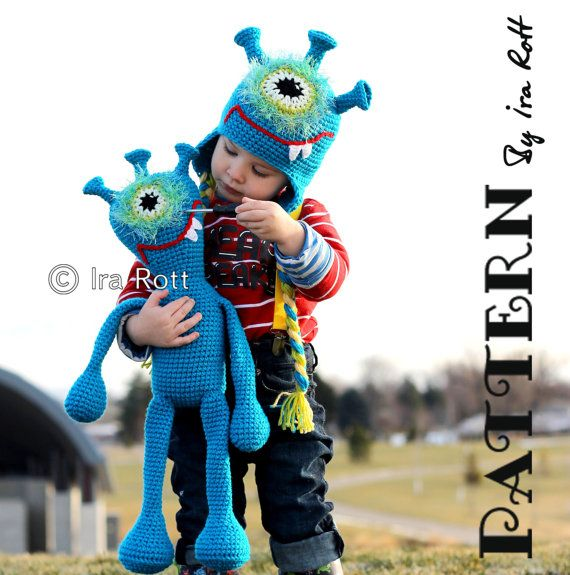 Plutonian Paul Alien Monster Hat and Toy Set Crochet Pattern PDF ...