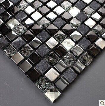 Black silver glass mosaic kitchen wall tiles backsplash SGMT165 grey