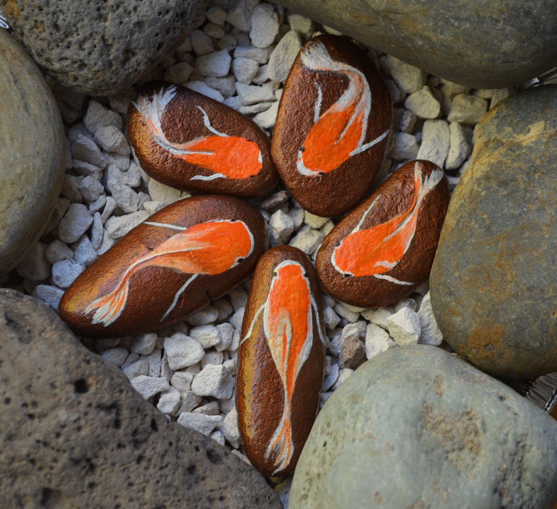 Fish Rock Art Hand Painted Koi Goldfish Stones Tropical Fish