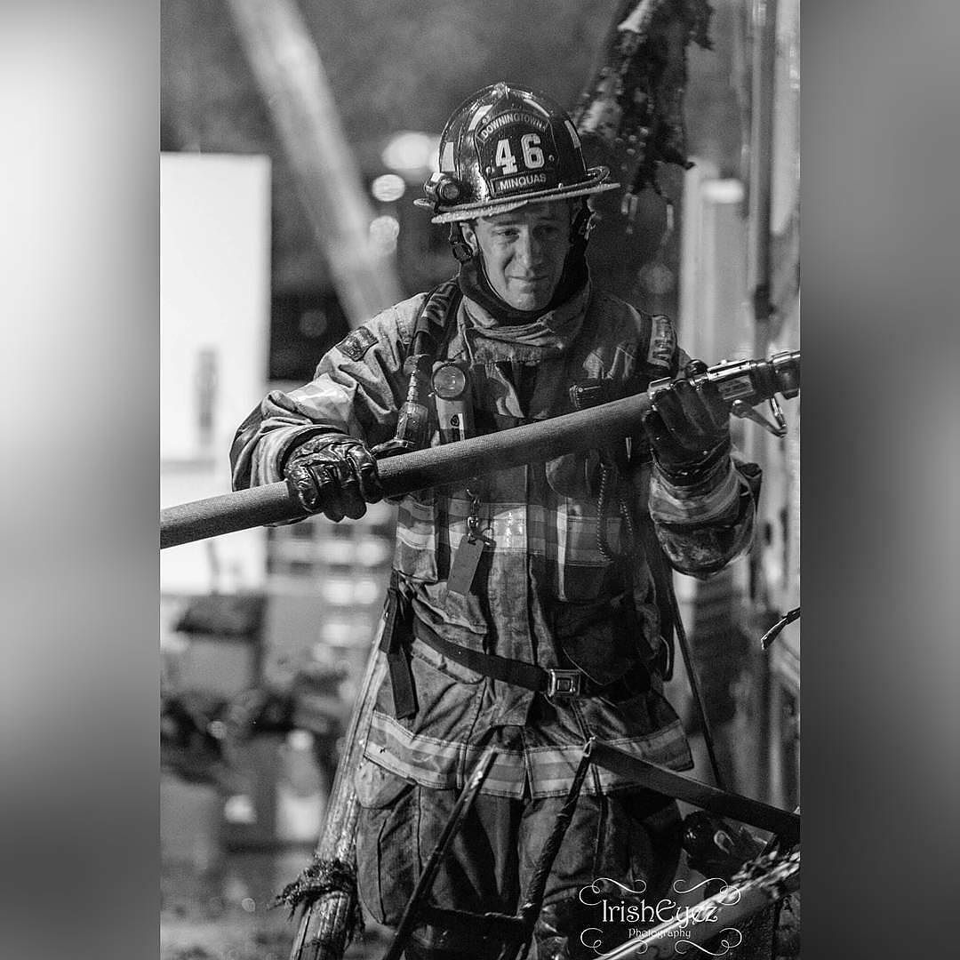 """FEATURED POST   @irisheyezphotog -  Firefighter from Chester CountyPA Station 46 (Minquas) at a working fire tonight.  ___Want to be featured? _____ Use #chiefmiller in your post ... . CHECK OUT THIS COOL SHIRT! ....""""OFF DUTY SAVE YOURSELF """"  .... .. http://ift.tt/1WlY7ZM   Free shipping Promo code: Irishluck  By:Chicagofirewire.com  #fire #firetruck #firedepartment #fireman #firefighters #emt #ems #brotherhood #firefighting #paramedic #firehouse #rescue #firedept #firelife #feuerwehr…"""