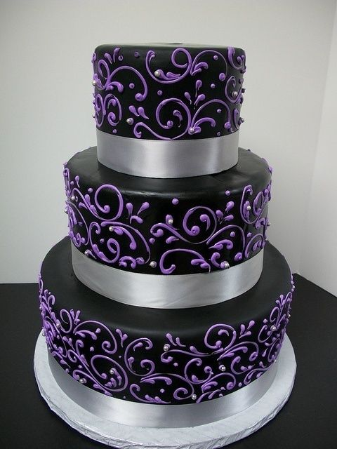 2 tier wedding cakes purple and gold