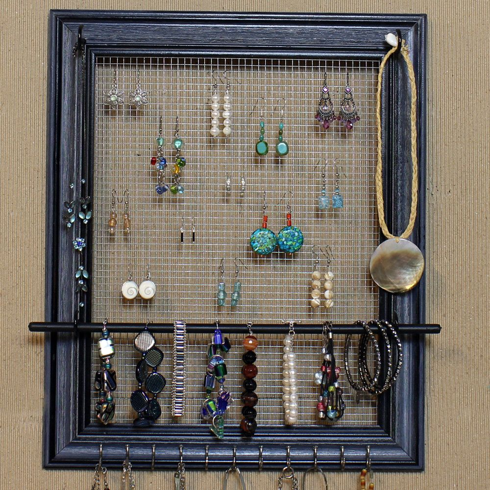Jewelry Organizer Display Blue Black Picture Frame 14x17 Large