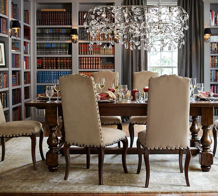 bella crystal ball rectangular chandelier, pewter finish | dining