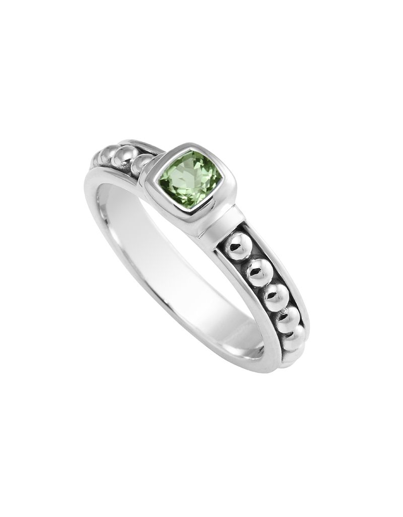 LAGOS Signature Caviar Peridot Gemstone Sterling Silver Beaded Ring