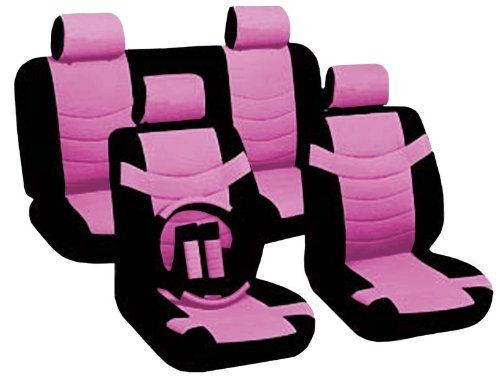 Two Tone Pu Synthetic Leather Seat Covers Set 11pc Black