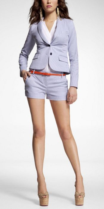 Women's Suits, Striped Jacket Cuffed Shorts - Express | Act Like A ...