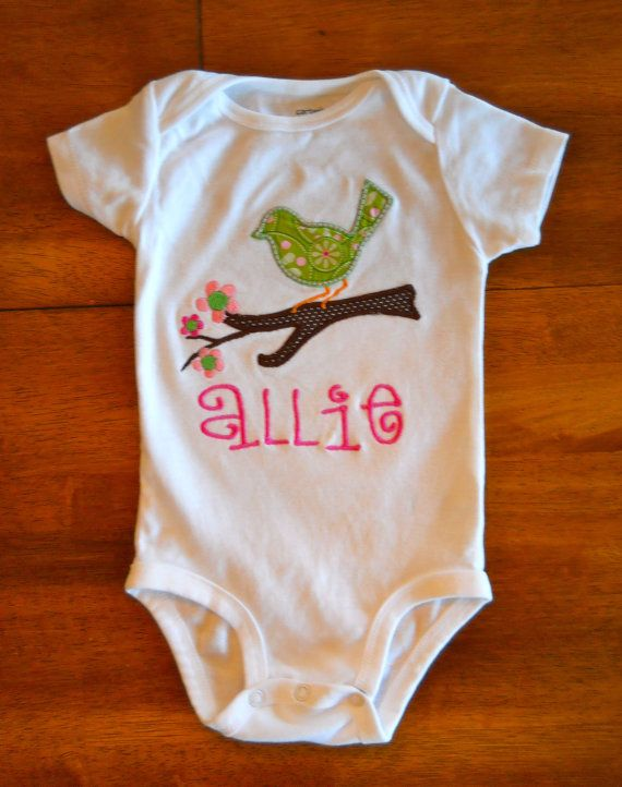 Personalized Perched Bird Onesie or TShirt by tresbienboutique, $17.00