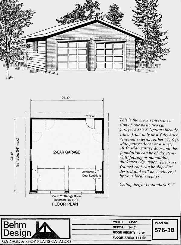 2 Car Brick Garage Plan with one Story 5763B 24 x 24 by Behm – Brick Garage Plans